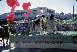 Mayoral candidate Bill Schrader used his Parada del Sol float to promote his campaign in February 1962.  Scottsdale Historical Society photo