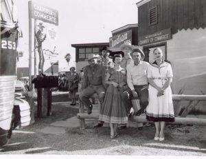 "Scottsdale's first Mayor, Malcolm White (far left) and members of the Scottsdale Chamber of Commerce promoted Scottsdale to visitors and residents as ""The West's Most Western Town"" at the time of incorporation in 1951.  Photo courtesy of Scottsdale Historical Society"
